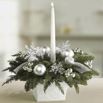 silver table chrismas decorations   White and silver table centerpiece, Christmas table decorations with ...