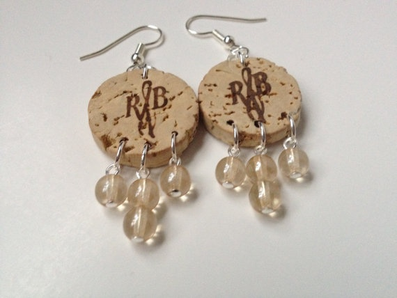 Upcycled wine cork earrings from Simply March.