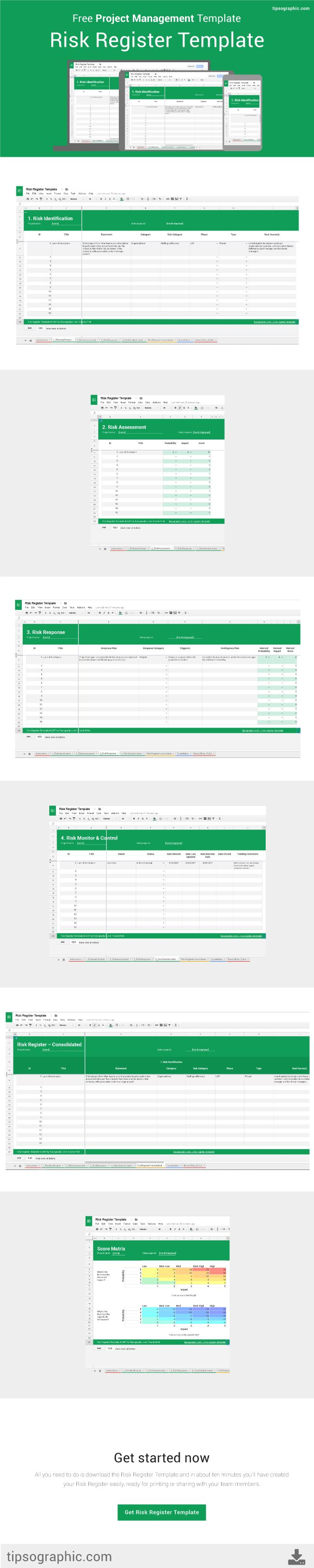 This template is designed to help you track information about identified risks over the course of a project using Google Sheets, Open Office, or Microsoft Excel. All for free.