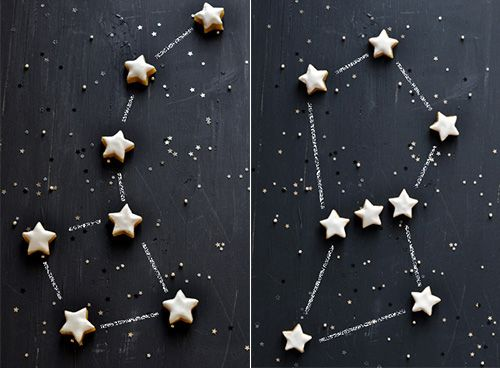 Constellation Cookies - what fun this would be at a birthday party.Stars Cookies, Food Style, Holiday Treats, Gingers Recipe, Carnet Parisien, Cookies Constellations, Calisson Étoiles, Starry Cookies, Interiors Design Blog