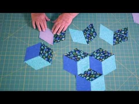 Easy Tumbling Blocks - Learn how to mark and sew tumbling blocks - YouTube