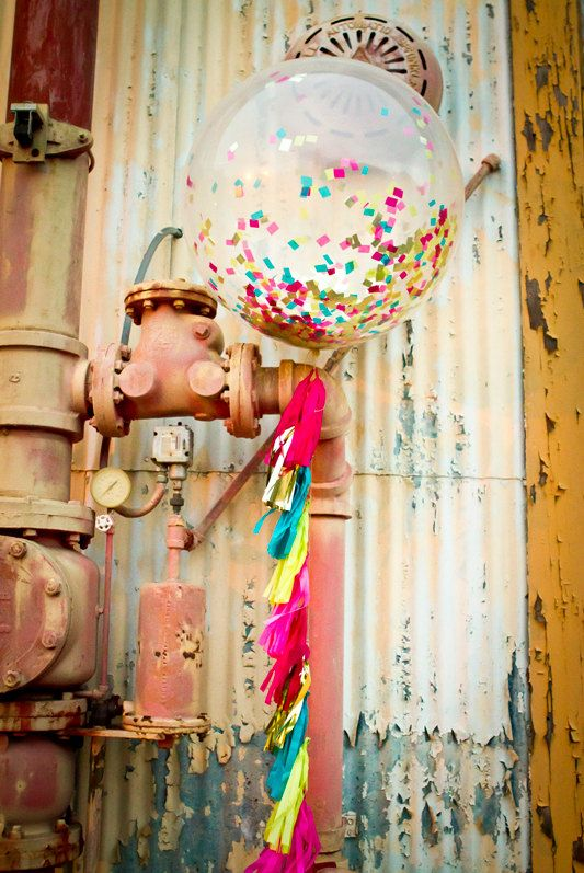 Bright Pink, Teal, Yellow and Gold Jumbo Confetti Balloon with Tassels - One Stylish Party on Etsy, $30.00