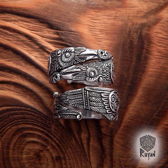 Anillo de los cuervos de Odin. Huginn y Muninn anillo. Raven el anillo. Anillo de Viking. Odin. Joya de Viking. Joyería de la pagana. Anillo de bodas de Viking. Celtic