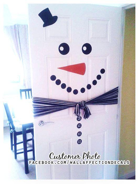 Bonhomme de neige porte / / Noël porte par WallAffection sur Etsy