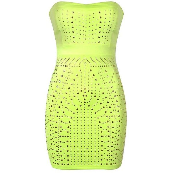 NEON BANDEAU STUD BODYCON DRESS ($30) ❤ liked on Polyvore