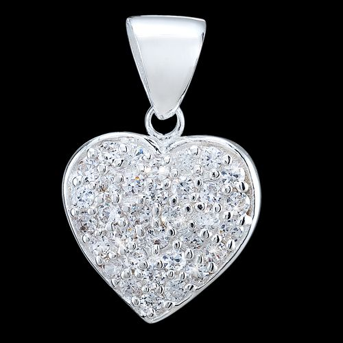 Colgante de Plata Corazón Circonitas « JOYERIA LATIDOS