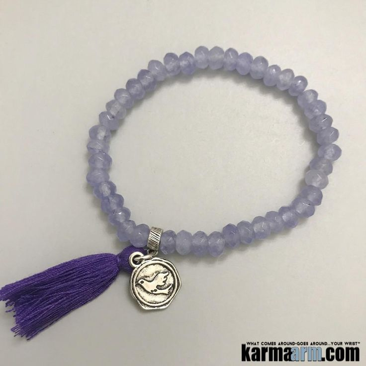 """Amethyst is a very powerful and protective crystal, and is a first choice of many metaphysicians. Amethyst was used in ancient times to recover from both physical addictions as well as addictive relationships, and became known as the """"Stone of Sobriety"""". A natural stress reliever, Amethyst can encourage inner strength.  ……….      Yoga Bracelet Energy Healing Chakra Reiki Beaded Stretch Crystal Jewelry Mens. Amethyst Charm Dove."""