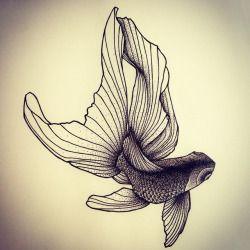 Il est tout frais mon poisson Japonais! Dispo pour être tatoué!  Contact pour…