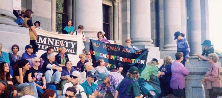 WIS banner International Women's Day march 1999