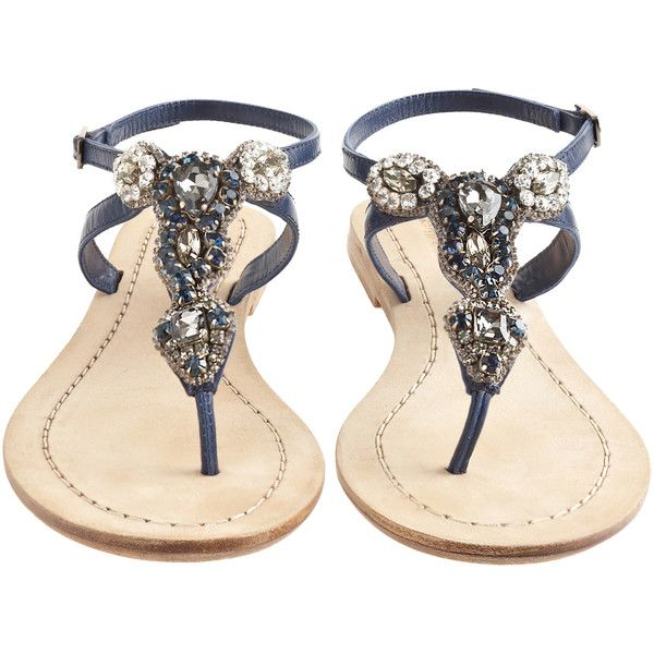 ANTIK BATIK Akan Navy Rhinestone Thong Sandal - great summer sandals, perfect with short, flirty dresses or shorts