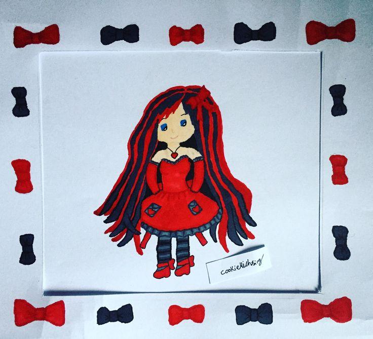#redandblack #red #black #girl #cute #longhair #creative #drawing #art #artsy #artist #artwork #copic #copics #copicmarkers