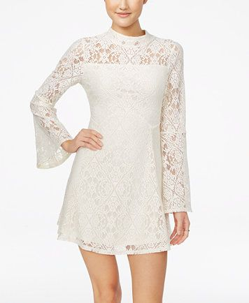 Material Girl Juniors' Lace Bell-Sleeve Shift Dress, Only at Macy's | macys.com