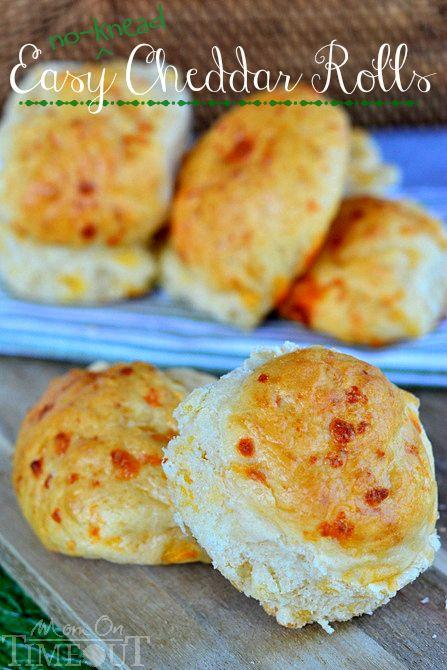 Easy No-Knead Cheddar Rolls | MomOnTimeout.com | #recipe #bread