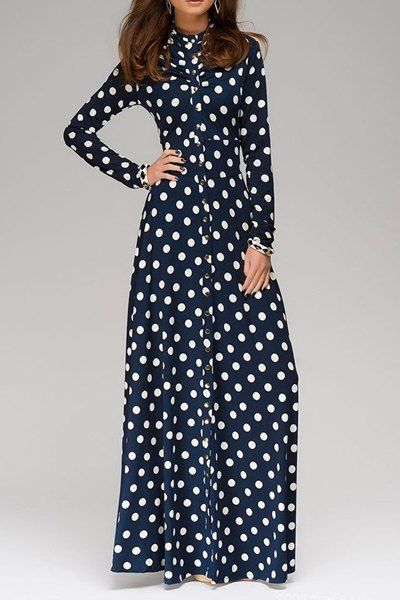 Vintage Stand Up Collar Long Sleeve Polka Dot Prom Maxi