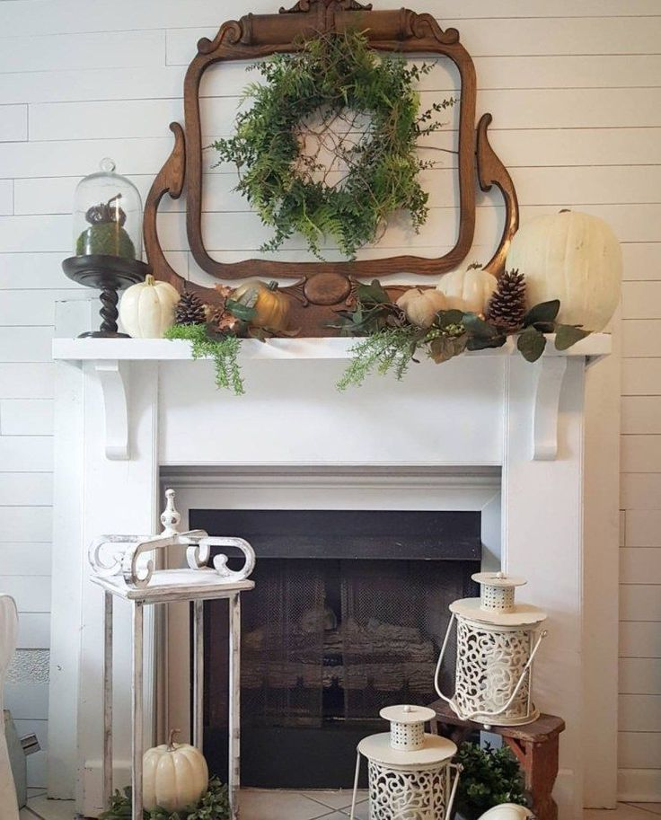 Stunning fall fireplace decor shabby chic farmhouse fall decorating ideas fall wreath shiplap #shabbychicbedroomsrustic