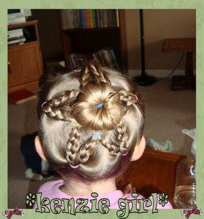Star bun!! First day of school hair do.