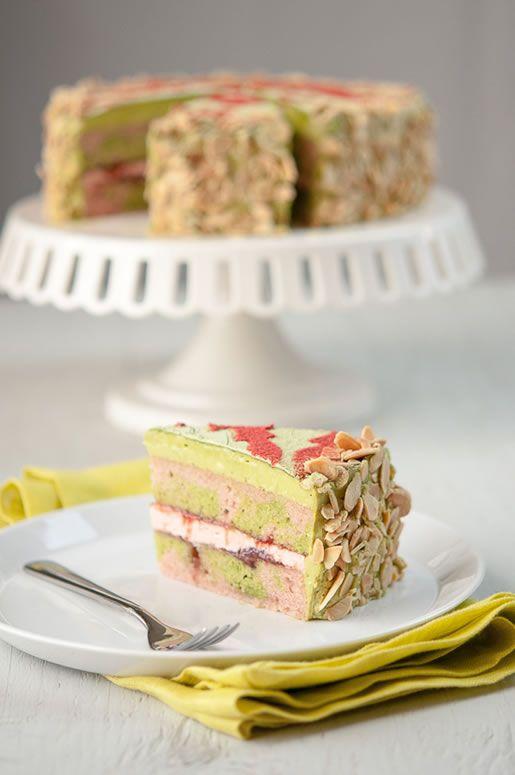 Matcha Strawberry Cake with Matcha/Strawberry White Chocolate Cream Cheese Buttercream