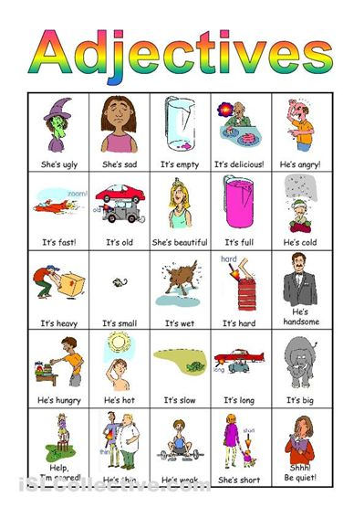 Worksheets Adjective For Kids 17 best ideas about english adjectives on pinterest fun game to teach adjectives