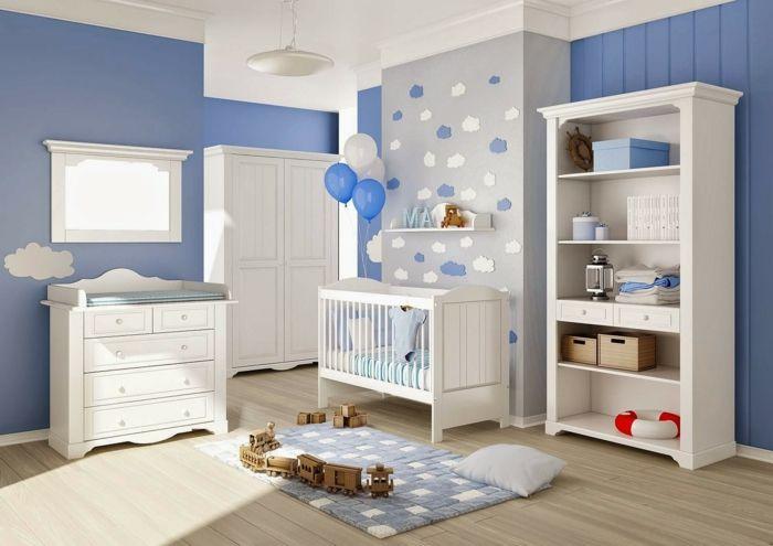 babyzimmer set blaue wände und grau | chambre d'enfant | pinterest