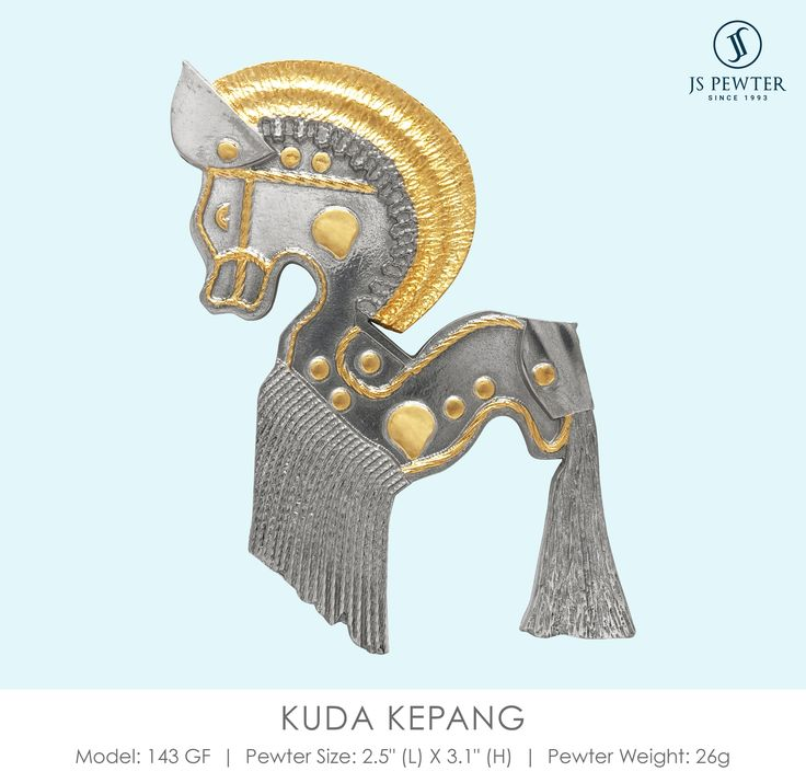 JS Pewter - Kuda Kepang is a very interesting dance from Johor. The dance was once a form of totemic worship. This is made from highly polished fine Malaysian pewter and plated with 24k gold. #jspewter