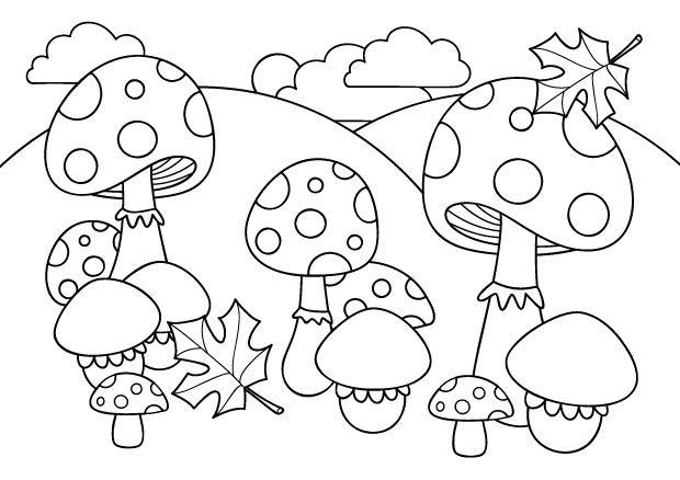 Coloriage d 39 automne champignons et feuilles d 39 automne - Coloriage feuilles d automne ...