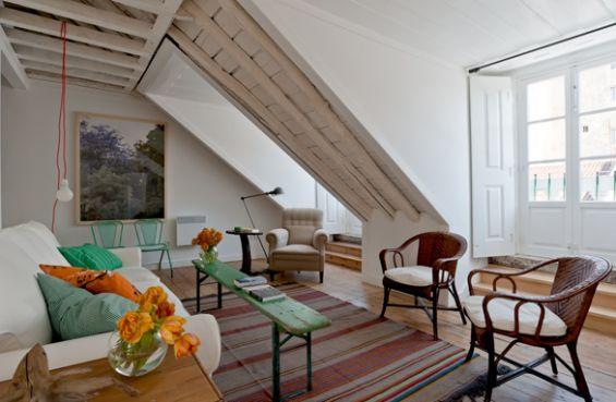 baixa house, portugal: Baixa House, Living Livingroom, Living Room, Apartments Rental, Attic Room, Inspiration Spaces, Attic Ideas, Attic Inspiration, 5Th Floors