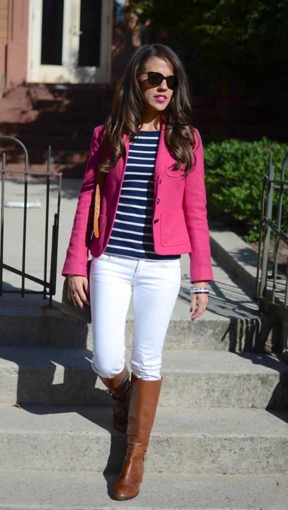 Get this look with cabi's Stella jean, power pink blazer and new stripe tee