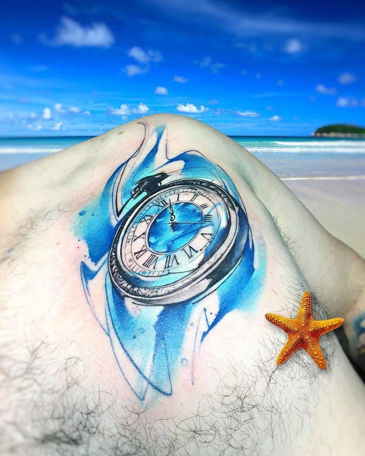 Pla AB #tattoo #tatuaje #beach #playa #clock #reloj #starfish #star #verano #colors #aquarelle #watercolor