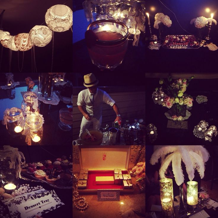Great Gatsby theme party. I love these mason jar candles and lace paper lanterns. Great for a Roaring 20's/ prohibition/ flapper theme costume party for New Years Eve!