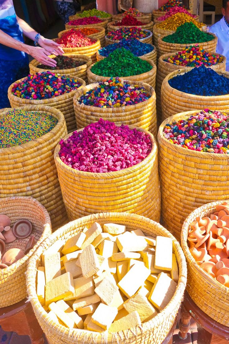 Solid perfumes and rose petals for sale in the souk, Marrakech