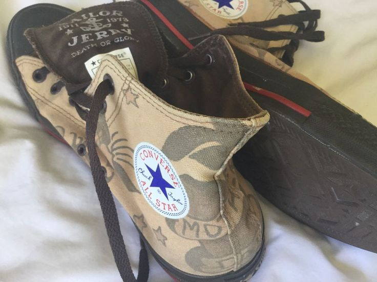 Hi Tops with Sailor jerry tattoo style printed canvas. Converse All Star. Death Or Glory. Some wear to soles as per pic. Some marks and scuffing from wear. Limited edition Sailor Jerry and Converse collaboration. | eBay!