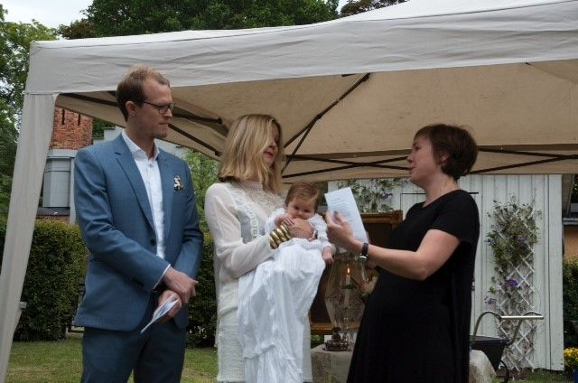 Elle's christening in Stockholm with the godmother.