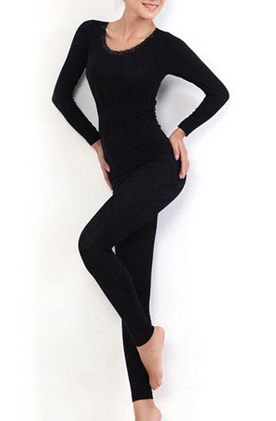 Women Round Neck Thermal Set Winter Tops&Pants Long Johns Pajama Sets Black