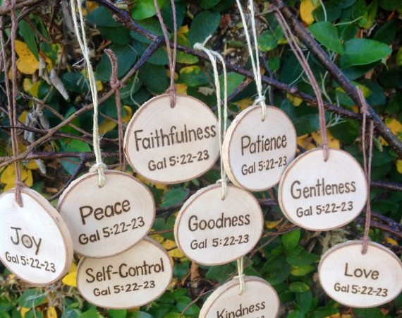 Fruits of the Spirit Wooden Tree Slice Christmas Ornament Gift Tag Rustic Country Cottage Farmhouse Inspired #christian #inspirational #bibleverses