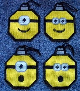 Minion Face Inspired Ornament Plastic Canvas Pattern by PCDesignz, $3.00