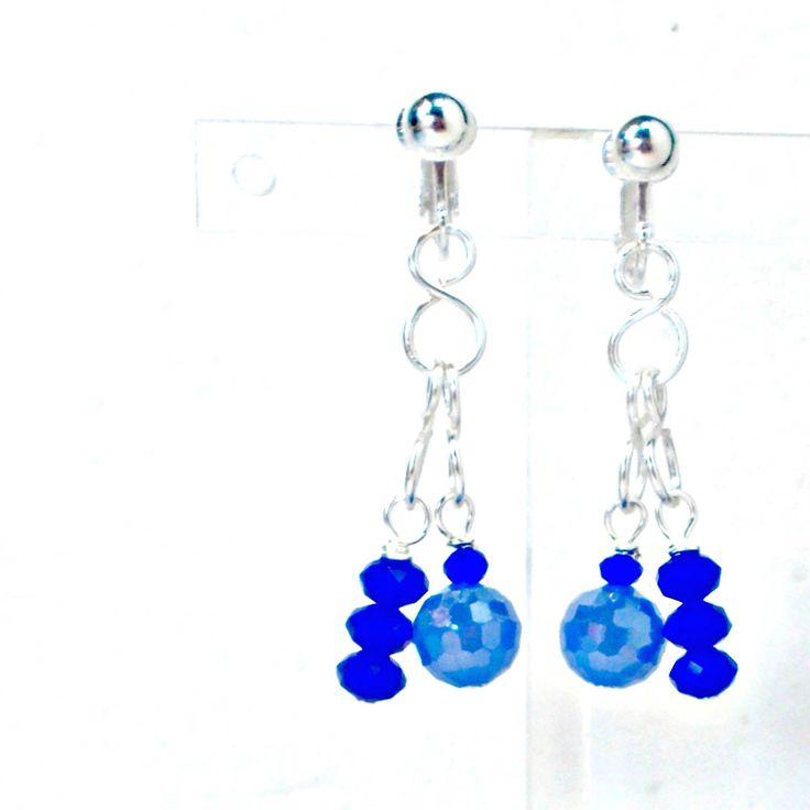 Handmade earrings wirework crystal dangles AB lt blue plus cobalt clip on by Pat2 by RememberThis3 on Etsy