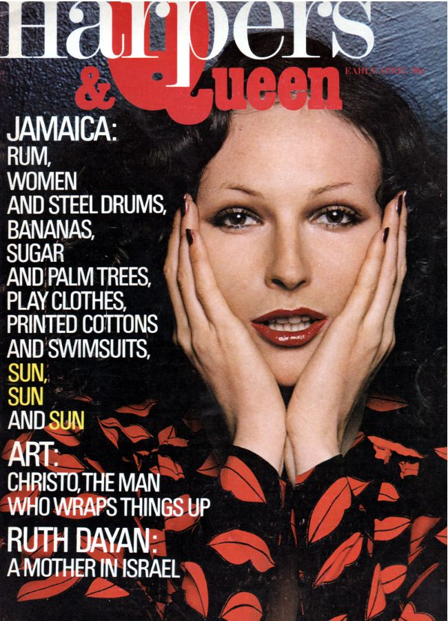 Viviane Fauny photographed by Helmut Newton in YSL Rive Gauche for the cover of Harpers & Queen, April 1971