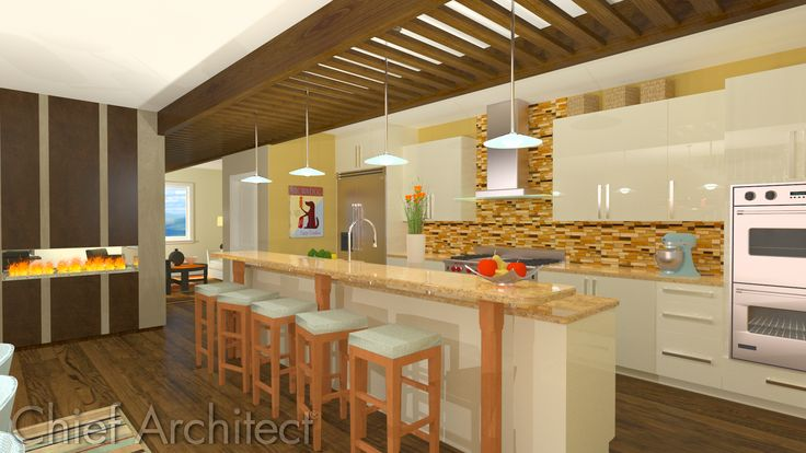 Cottage Beach Kitchen - Ray trace done with Chief Architect - chief architect resume