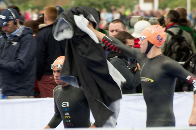 Triathlon Team GB staying warm right up to the last minute at the ITU Grand final in London Hyde park.