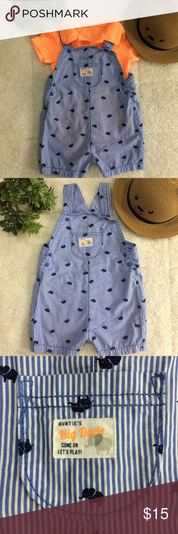 "💙 Cute Baby 👶🏻 Romper 💙 Overalls have thin blue & white stripes with adorable little elephants 🐘 throughout. Pocket in front reads ""Auntie's Big Dude...Come on let's play"". Onesie is bright orange with a collar. Fabric is very soft. Gently worn once. MAKE AN OFFER!!! NO TRADES PLEASE!!! Carter's Matching Sets"