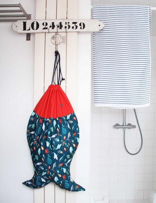 Réalisez votre sac à linge en forme de poisson !