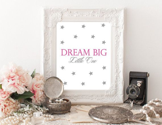 Printable Nursery Art Dream Big Little One by PapierCouture1