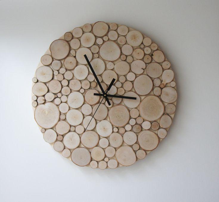natürliche weiße Birke Wald Holz Clock groß 14 von urbanplusforest
