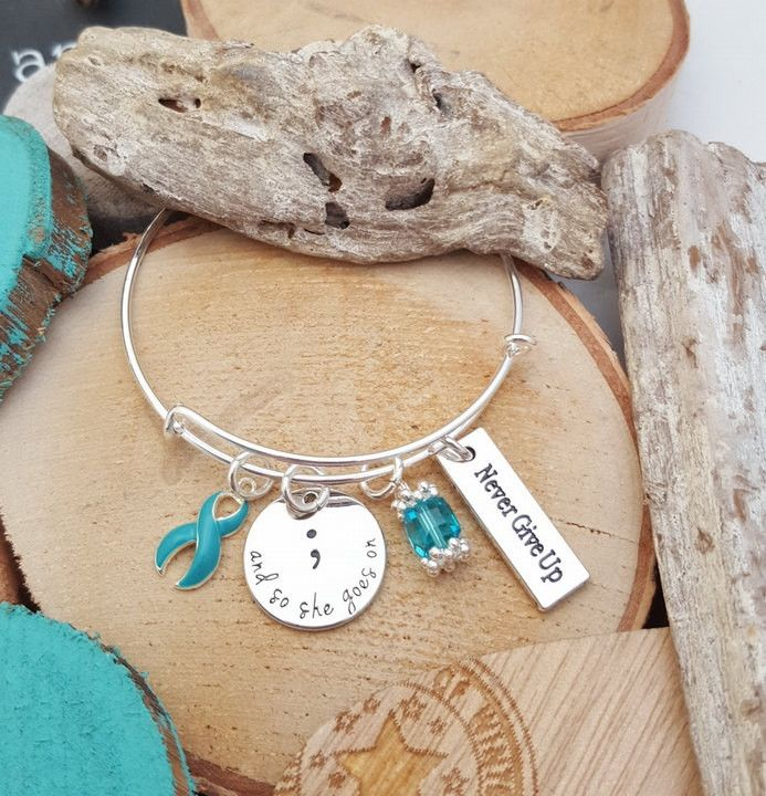 TE-1 Ovarian Cancer Jewelry Cervical Cancer Awareness Semicolon Bracelet Semi colon Jewelry PCOS Tourettes And So She Goes On Never Give Up