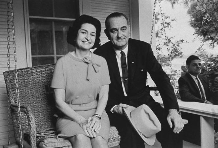"""President-elect Lyndon B. Johnson and his wife, Claudia """"Lady Bird"""" Johnson, after his victory in the 1964 election."""