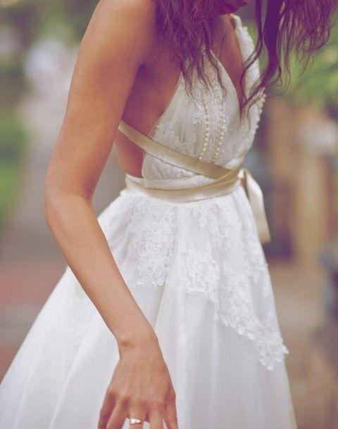 Vintage Wedding Dress,Lace Backless Wedding Dress,Ivory Informal Wedding Dress,Pearl Beaded Bridal Gowns,Beach Wedding Dress,Custom Prom Wedding Dress