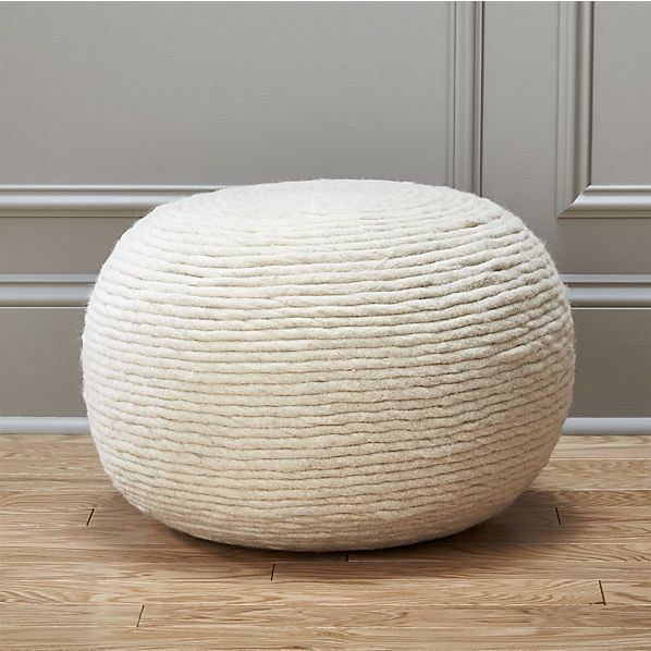 wool wrap pouf - $129 (less 15% is $109.65) - another great pouf/ottoman option for the reading chair