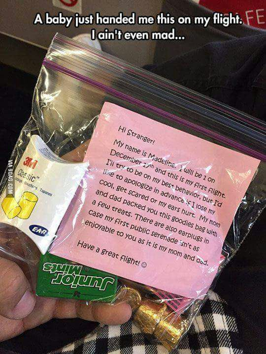 Love it!! Considerate parents! Not everyone likes kids or finds their crying at all cute