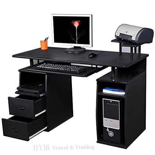 feature large computer desk with 4 shelves sliding 2 drawers a raised desk top printer platform and a smooth pull out keyboard she