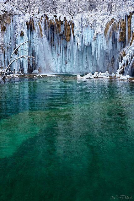 Frozen Plitvice - Upper Falls, Croatia